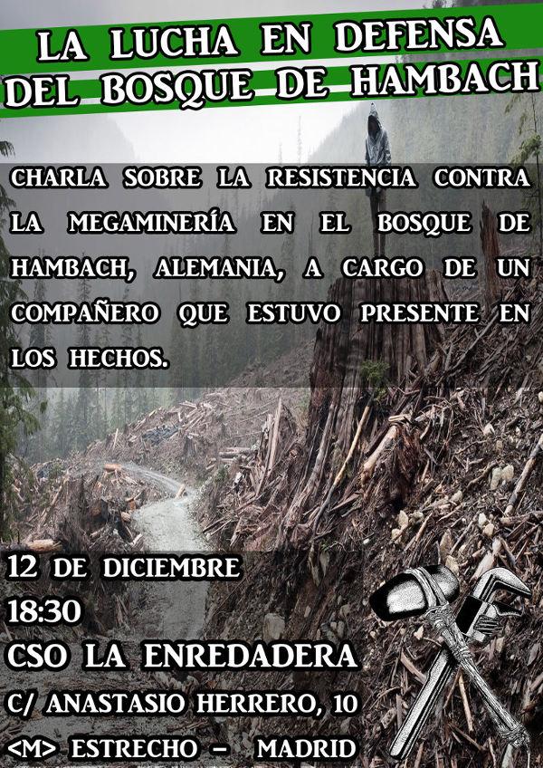 Madrid: Charla sobre la lucha por el bosque de Hambach en Alemania
